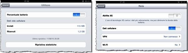 Impostazioni 3G e Utilizzo iPad