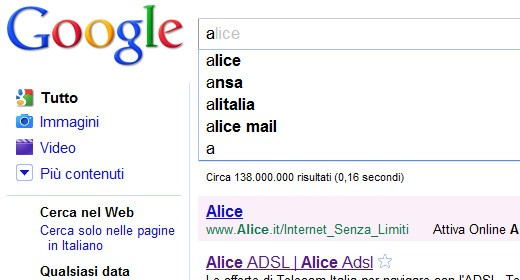 Abbeccedario di Google Instant