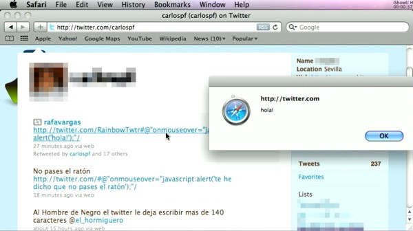 Twitter onmouseover