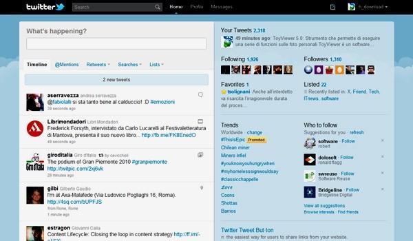 L'interfaccia del nuovo Twitter