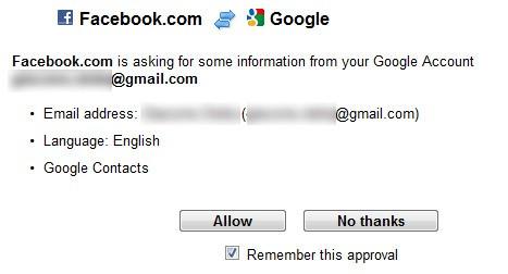 Import dei dati da Google a Facebook