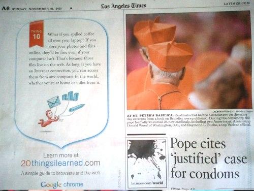 Pubblicità Google Chrome sul Los Angeles Times