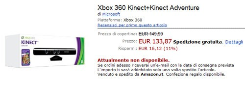 Microsoft Kinect su Amazon.it
