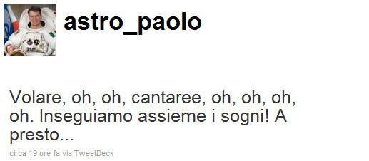 Paolo Nespoli su Twitter