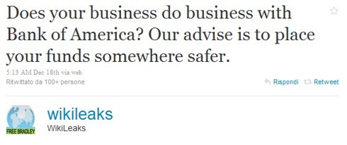 Wikileaks minaccia Bank of America