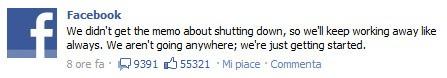 Facebook smentisce la chiusura