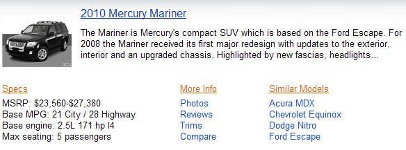 """La ricerca per le auto """"Mercury"""" su Bing"""