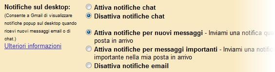 Notifiche Gmail - Impostazioni