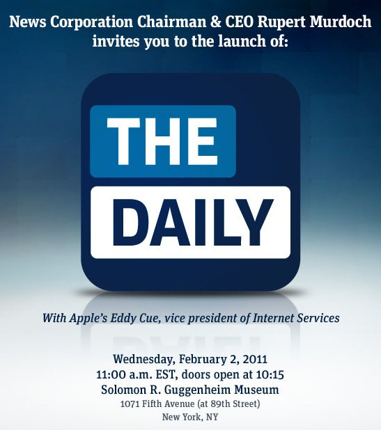 Invito alla conferenza stampa per l'annuncio di The Daily