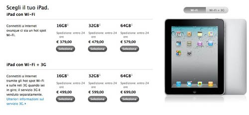 Nuovi prezzi per iPad