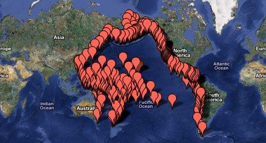 La mappa dello tsunami