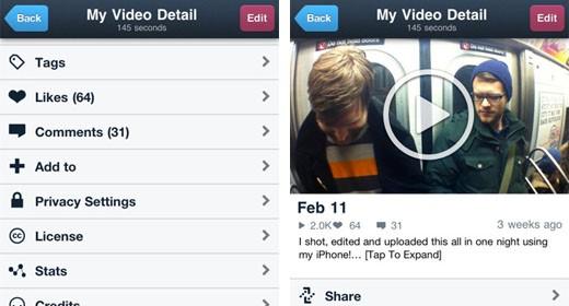 Vimeo app per iPhone