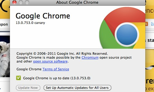 Chrome Canary per Mac OS X
