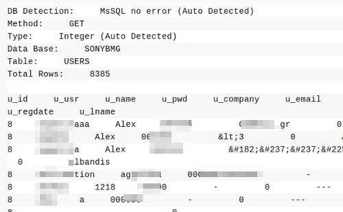 Screenshot dei dati trafugati dal sito Sony BMG