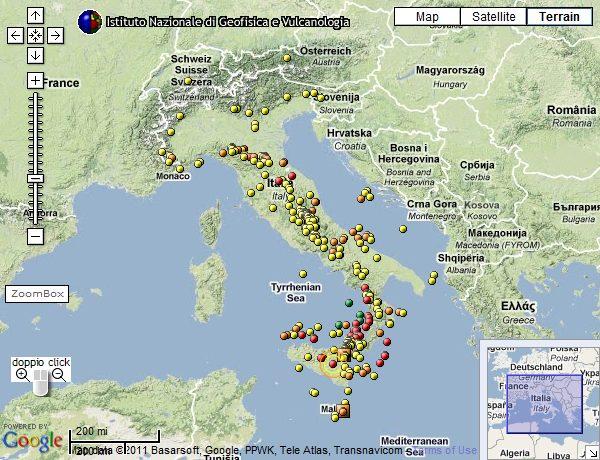 Mappa INGV dei terremoti in Italia