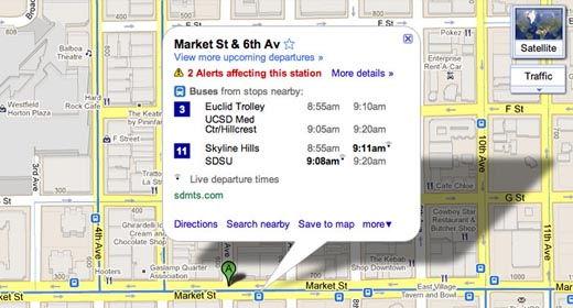 Live Transit in Google Maps