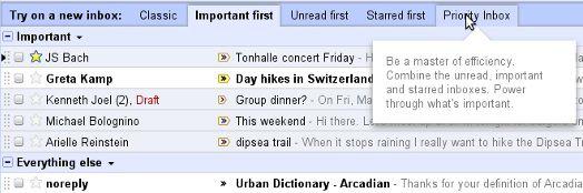 Gmail: modalità di visualizzazione della posta durante il test