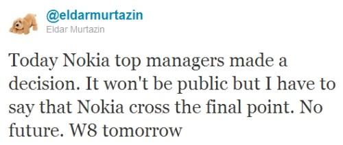 Tweet Murtazin Nokia W8