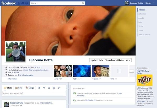 La nuova pagina del profilo su Facebook