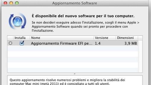 Aggiornamento firmware Mac