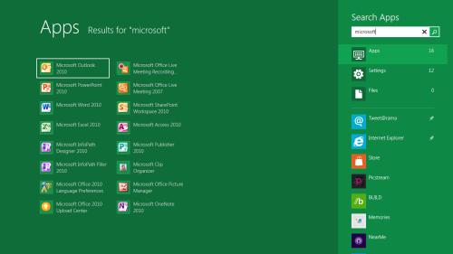 Ricerca app Windows 8