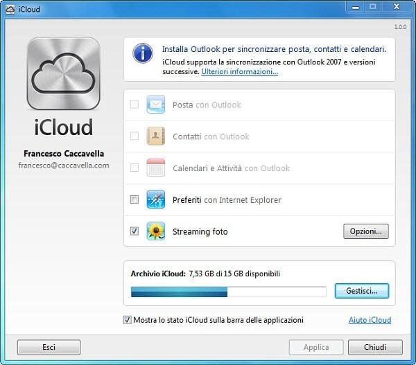 Pannello di controllo iCloud per Windows