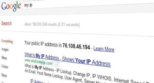 Indirizzo IP su Google