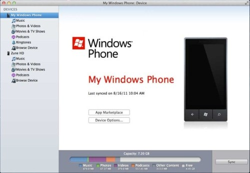 Windows Phone 7 Connector per Mac