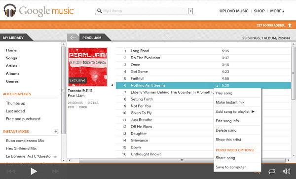 Google Music: l'interfaccia Web