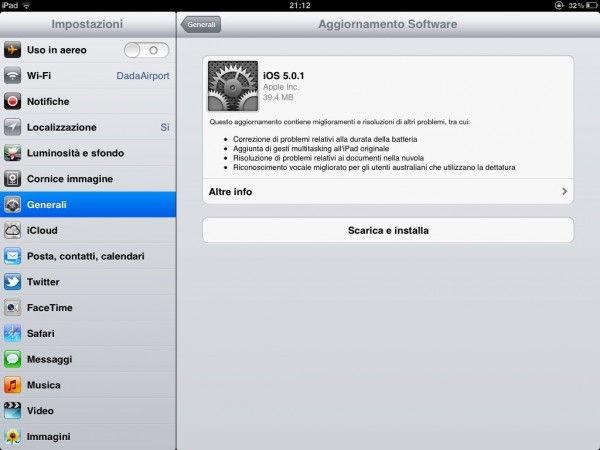 iOS 5.0.1 su iPad