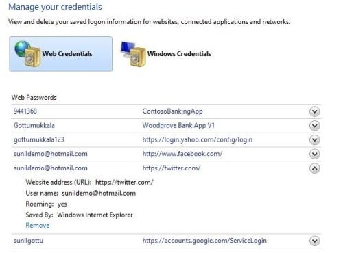 Windows 8 Gestione credenziali