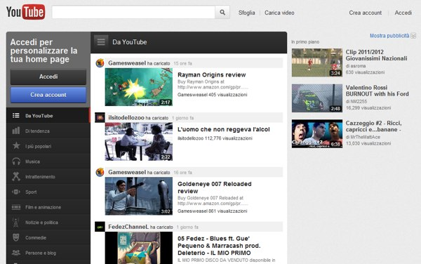 La nuova interfaccia di YouTube