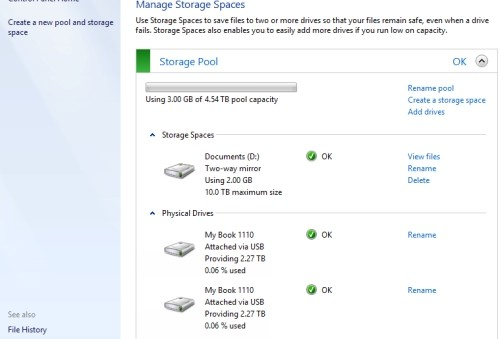 Storage Spaces Windows 8