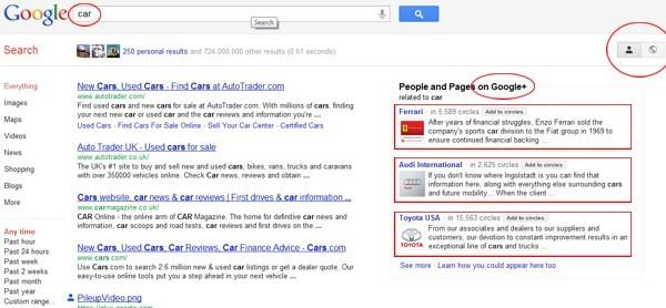 Ricerca su Google Search plus Your World