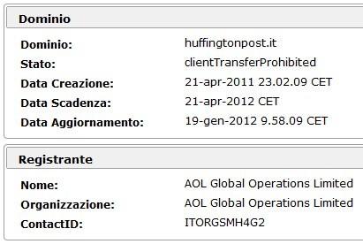 Registrazione dominio huffingtonpost.it