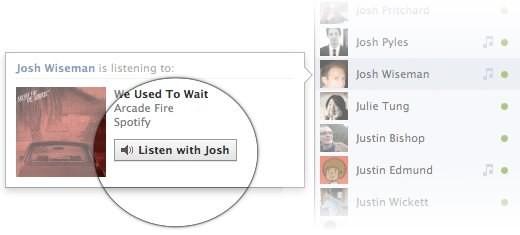 """Funzione """"listen with"""" su Facebook"""