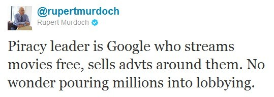 Murdoch attacca Google su Twitter