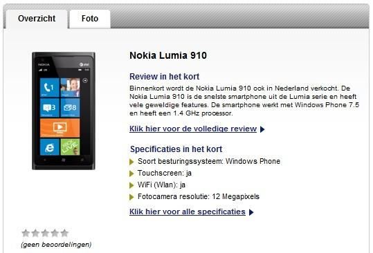 Nokia Lumia 910 sul sito Typhone
