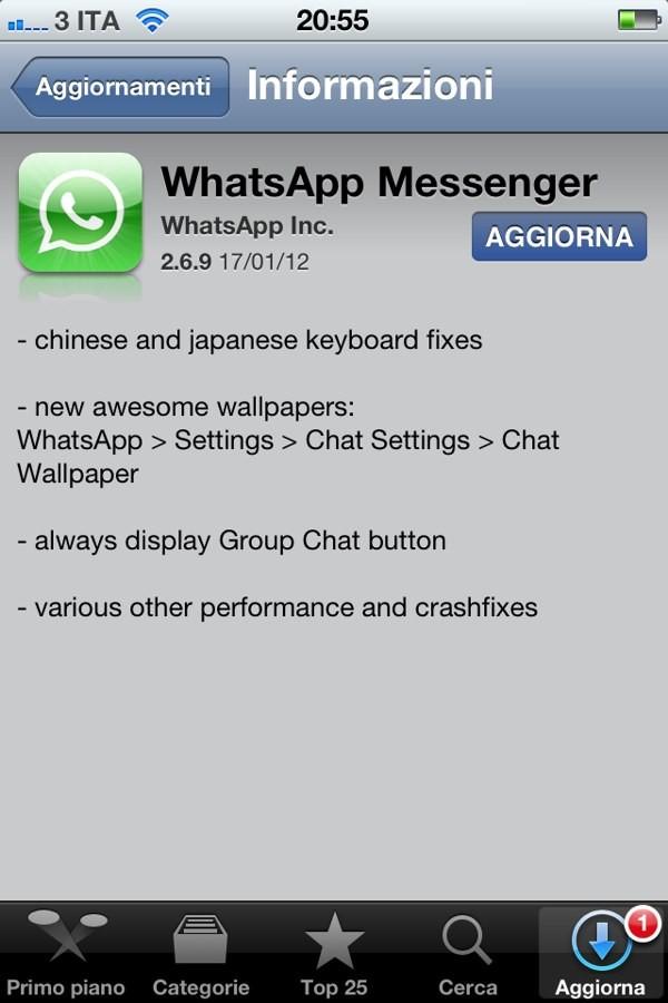 WhatsApp 2.6.9 su App Store