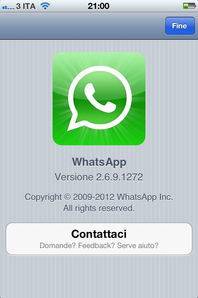 WhatsApp 2.6.9 su iPhone