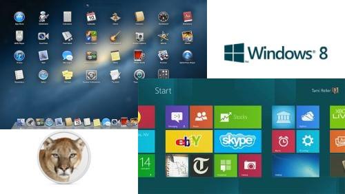 OS X Mountain Lion e Windows 8