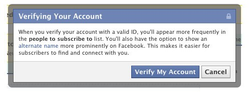 Verifica dell'account su Facebook