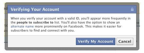 Verifica dell'account su Facebook