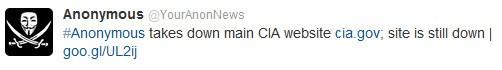 Gli Anonymous rivendicano l'attacco alla CIA