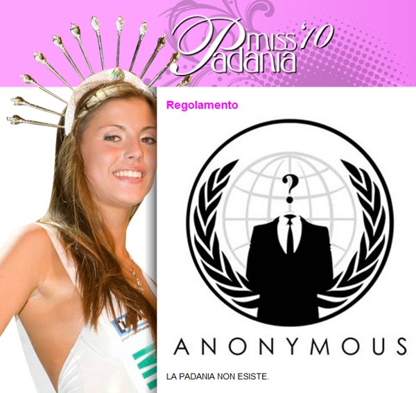 Anonymous sul sito di Miss Padania