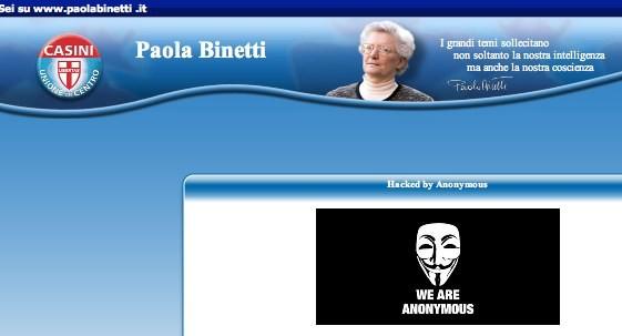 Sotto attacco il sito di Paola Binetti