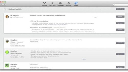 Software Update OS X Mountain Lion
