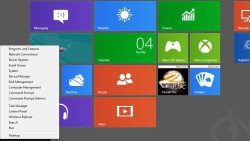 Windows 8 Power menu