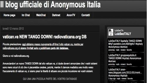 anonymous attaccano il vaticano