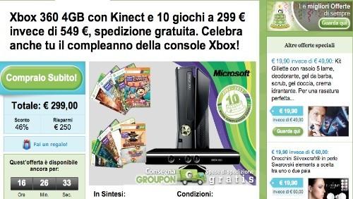 groupon, xbox 360, kinect e 10 giochi a 299€